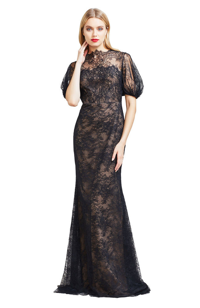 Chantilly Lace Blouson Bodice Gown