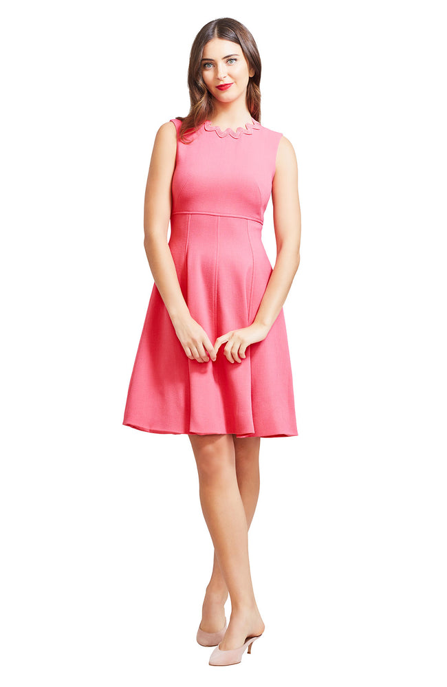 Wool Crepe Wave Trim Seamed Dress