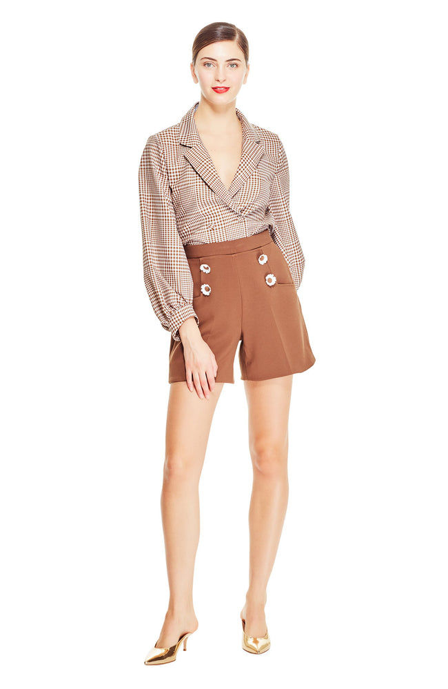 Stretch Canvas Flower Button Shorts