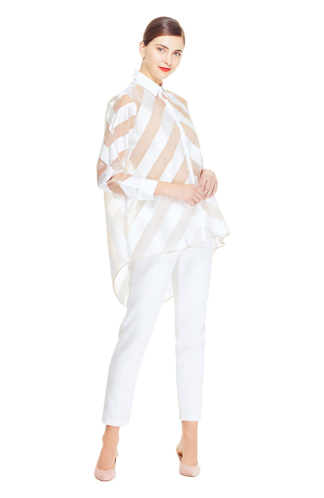 Stripe Organza High Low Shirt