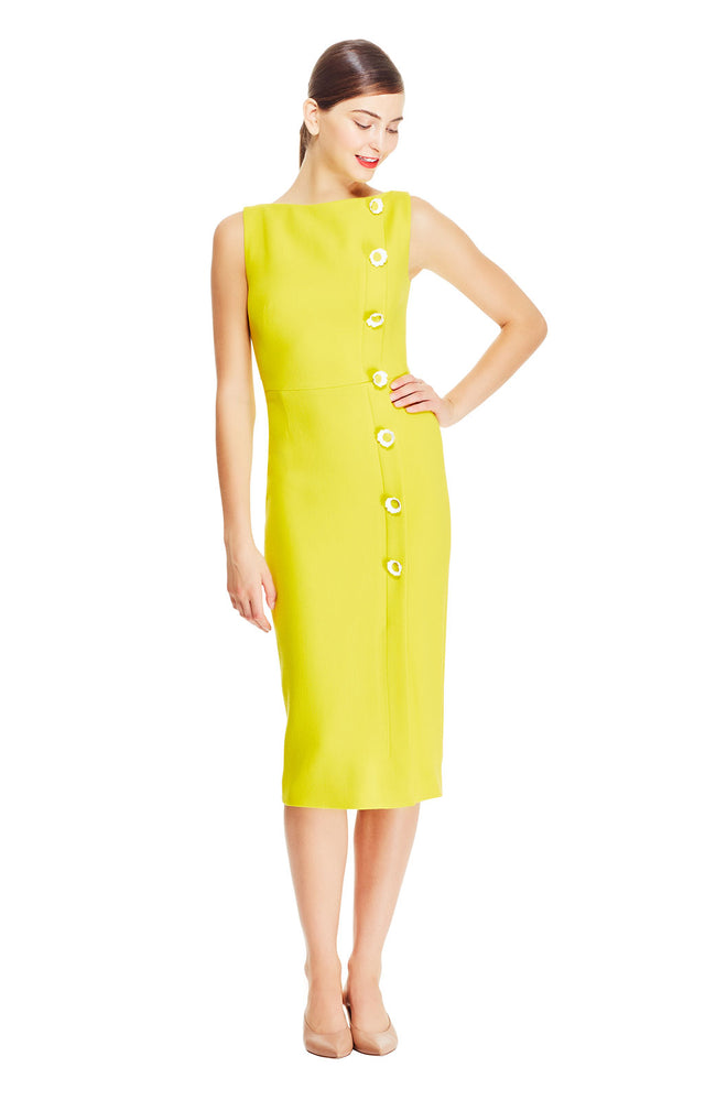 Wool Crêpe Boat Neck Dress with Flower Buttons