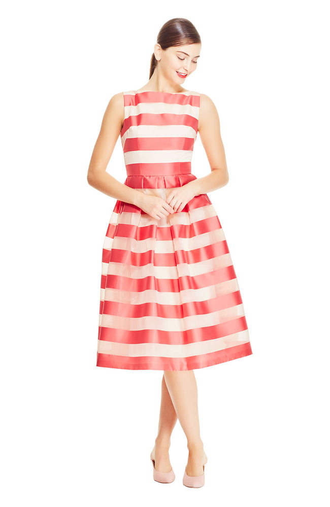 Stripe Organza Boat Neck Full Skirt Dress