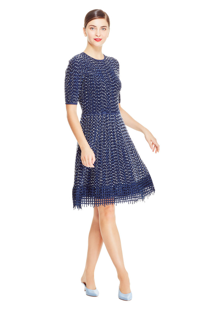Speckled Tweed Lace Hem Knit Dress