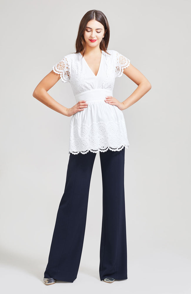 Embroidered Eyelet Poplin V-Neck Top