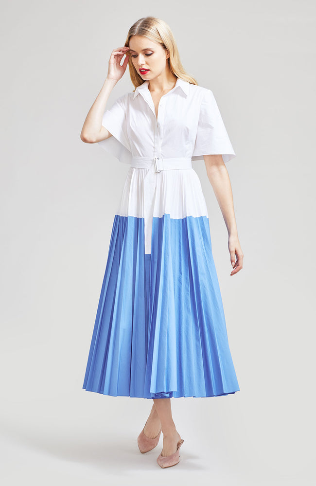 Stretch Cotton Poplin Pleated Shirt Dress