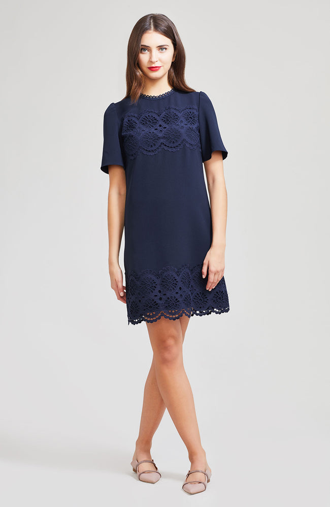 Embroidered Eyelet Crepe Tunic Dress