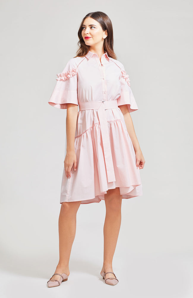 Coated Poplin Ruffle Sleeve Shirt Dress