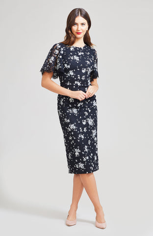 Floral Printed Corded Lace Flutter Sleeve Sheath