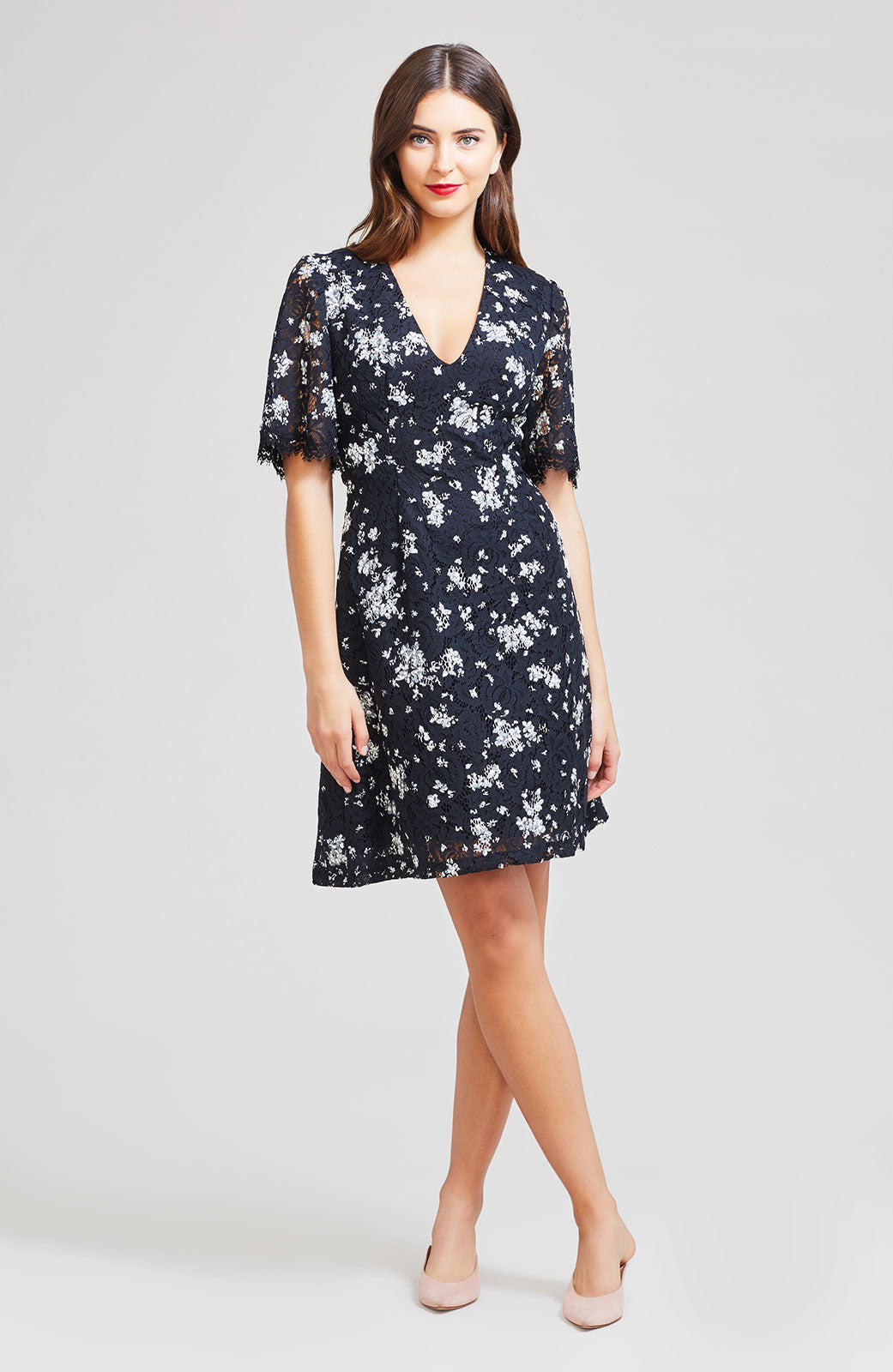Floral Printed Corded Lace V-Neck Flutter Sleeve Dress