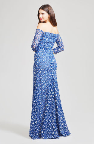 Floral Embroidered Tulle Off the Shoulder Gown