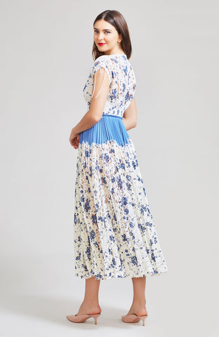 Floral Printed Corded Lace Pleated V-Neck Dress