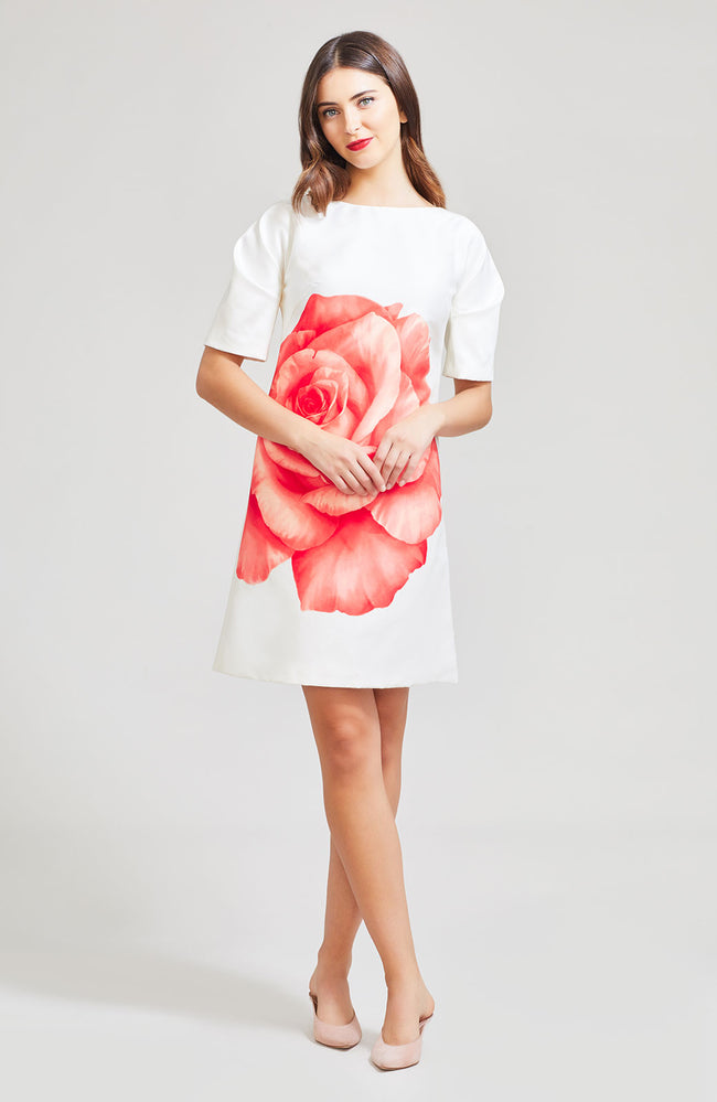 Oversized Rose Silk Folded Sleeve Tunic Dress