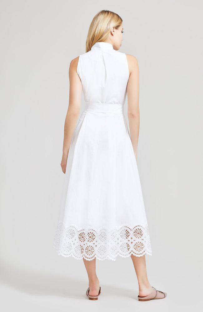 Embroidered Eyelet Poplin Belted V-Neck Dress