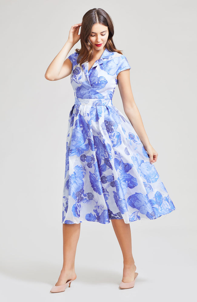 Oversized Rose Fil Coupe Full Skirt Dress