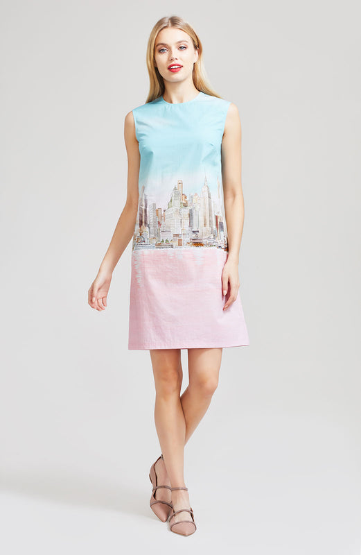 New York City Printed Poplin Sleeveless Tunic Dress