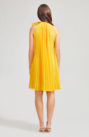 Point D'esprit Tulle Pleated Halter Dress with Flower Detail