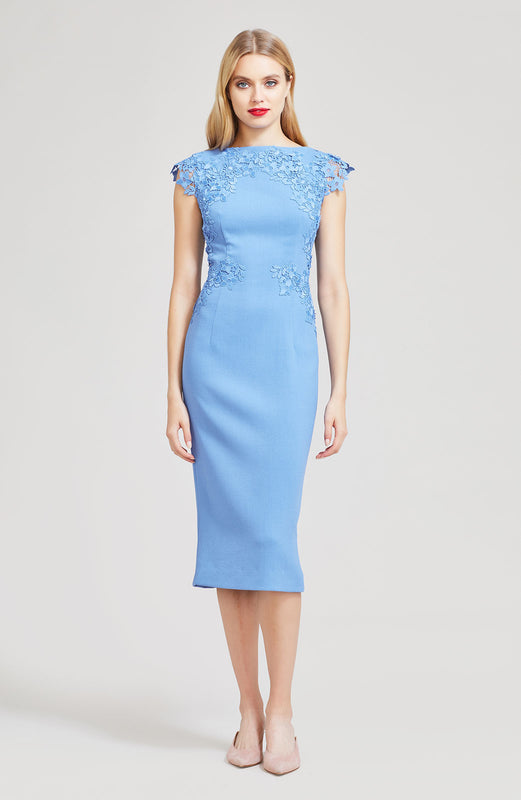 Wool Crepe with Embroidered Applique Boatneck Sheath