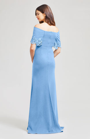 Wool Crepe with Embroidered Applique Off the Shoulder Gown