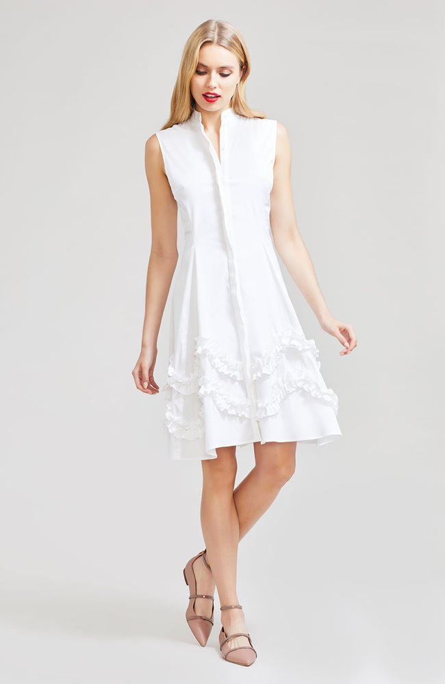Stretch Cotton Poplin Sleeveless Flare Hem Dress