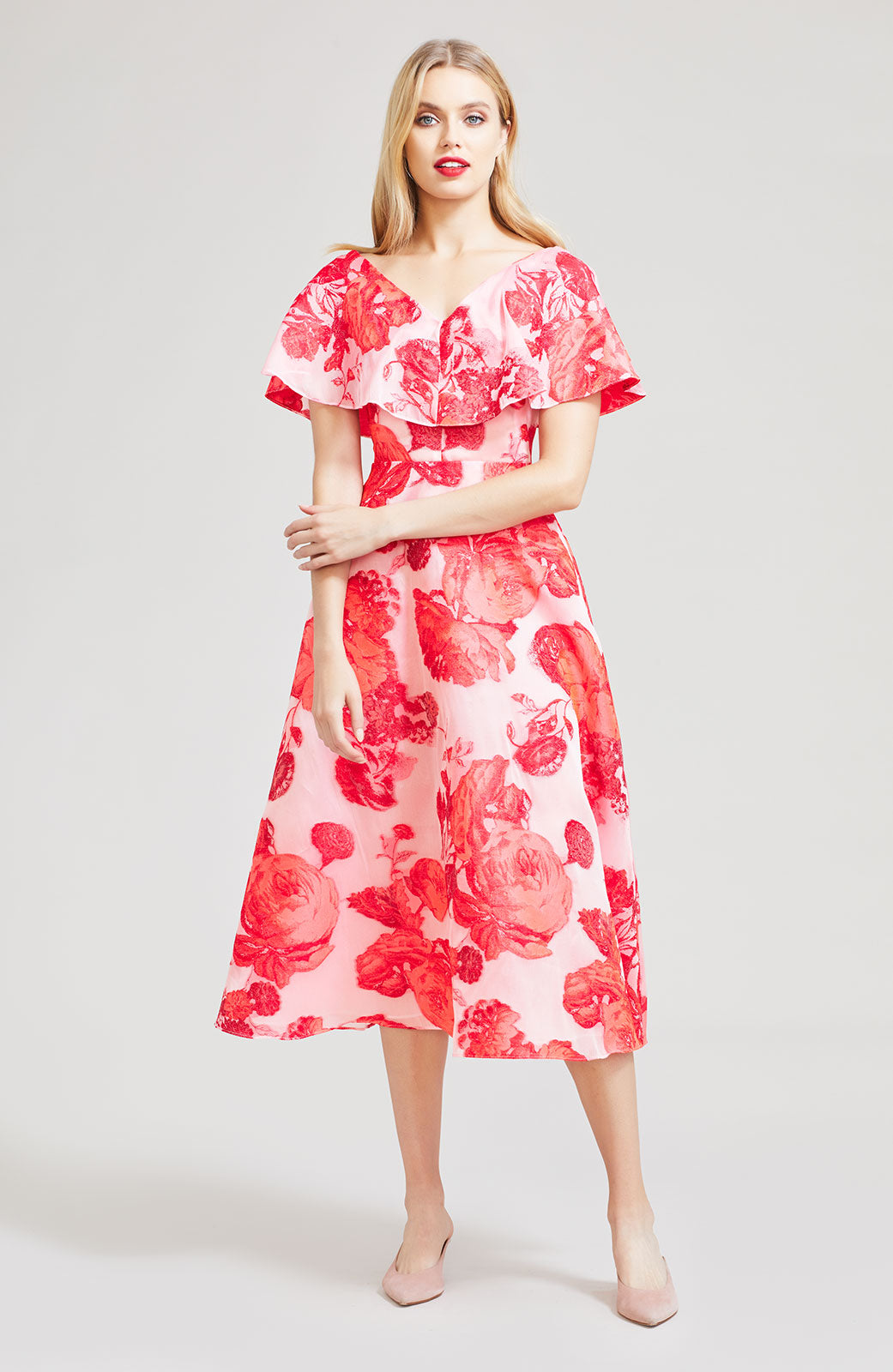 Oversized Rose Fil Coupe Open Neck Dress