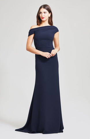 Fluid Crepe Off the Shoulder Gown