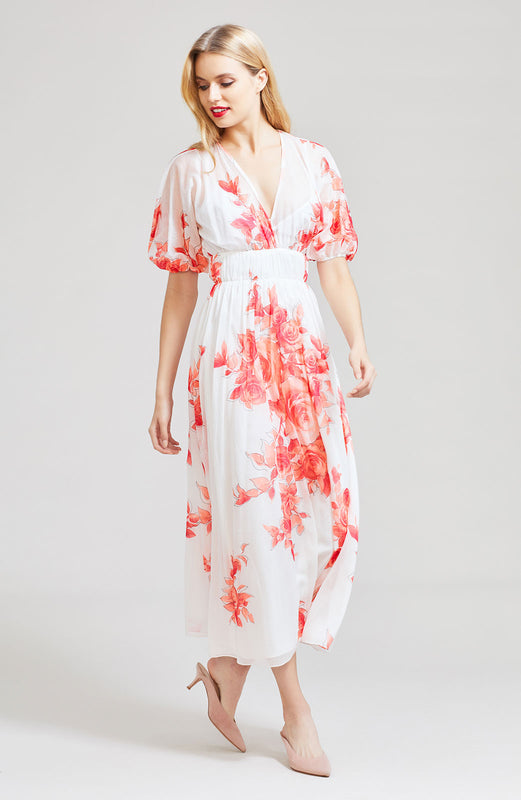 Rose Drawn Voile Blouson Dress