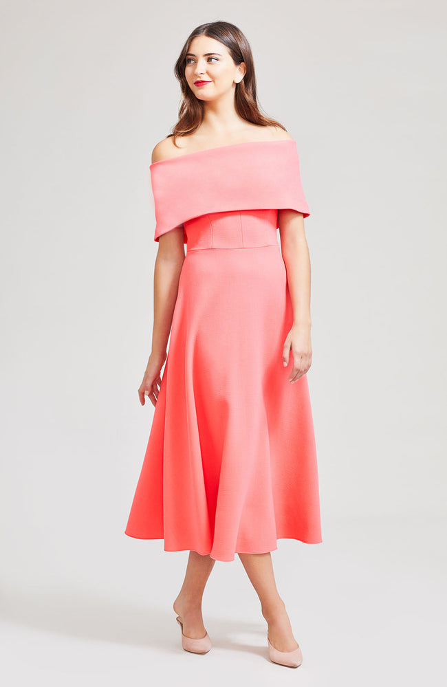 Wool Crepe Off The Shoulder A-Line Dress