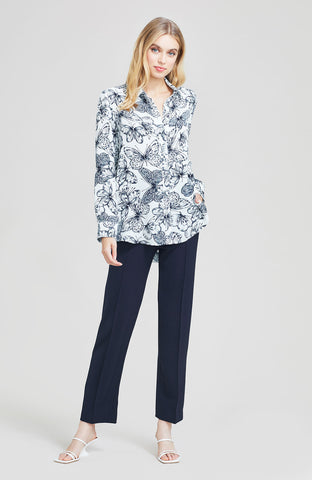 Butterfly Printed Georgette Button Down Blouse