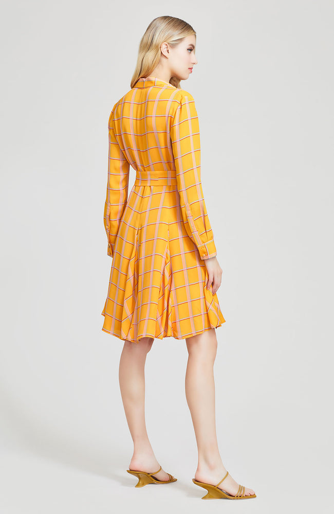 Plaid Georgette Belted Shirt Dress