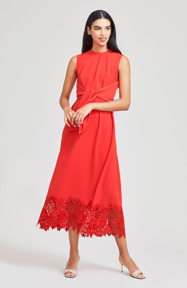 Fluid Crepe with Lace Detail Tie Front Midi Dress