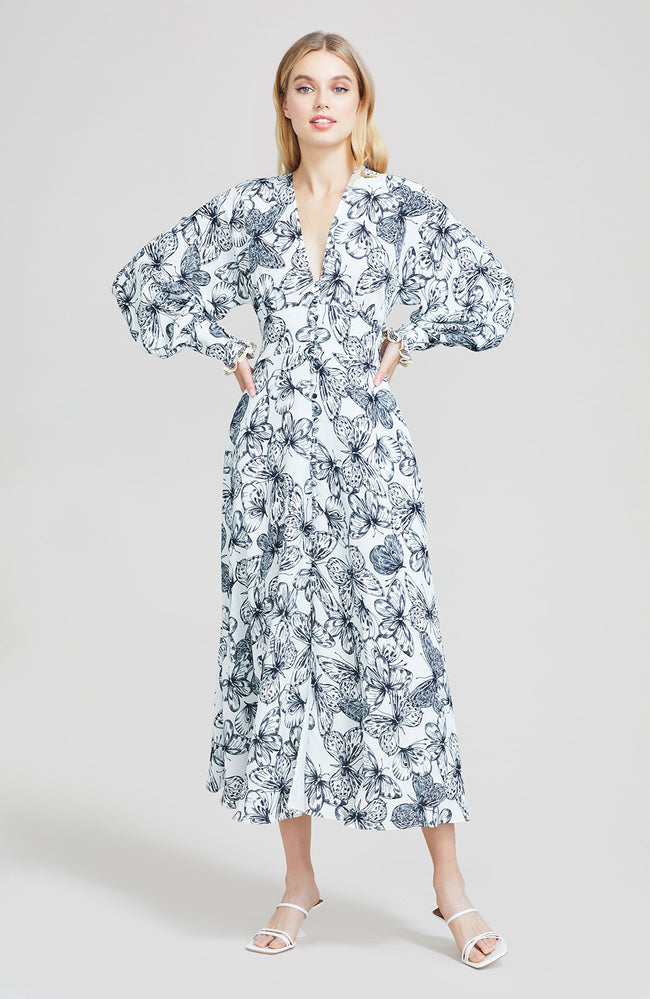 Butterfly Printed Georgette Full Sleeve V-Neck Dress