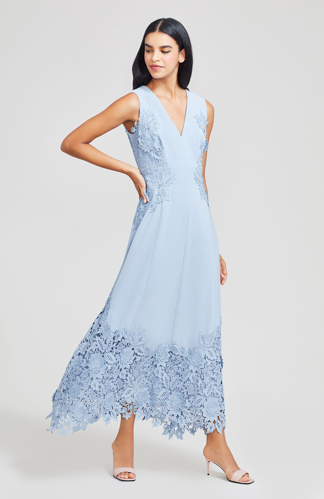 Fluid Crepe with Lace Detail V-Neck Midi Dress