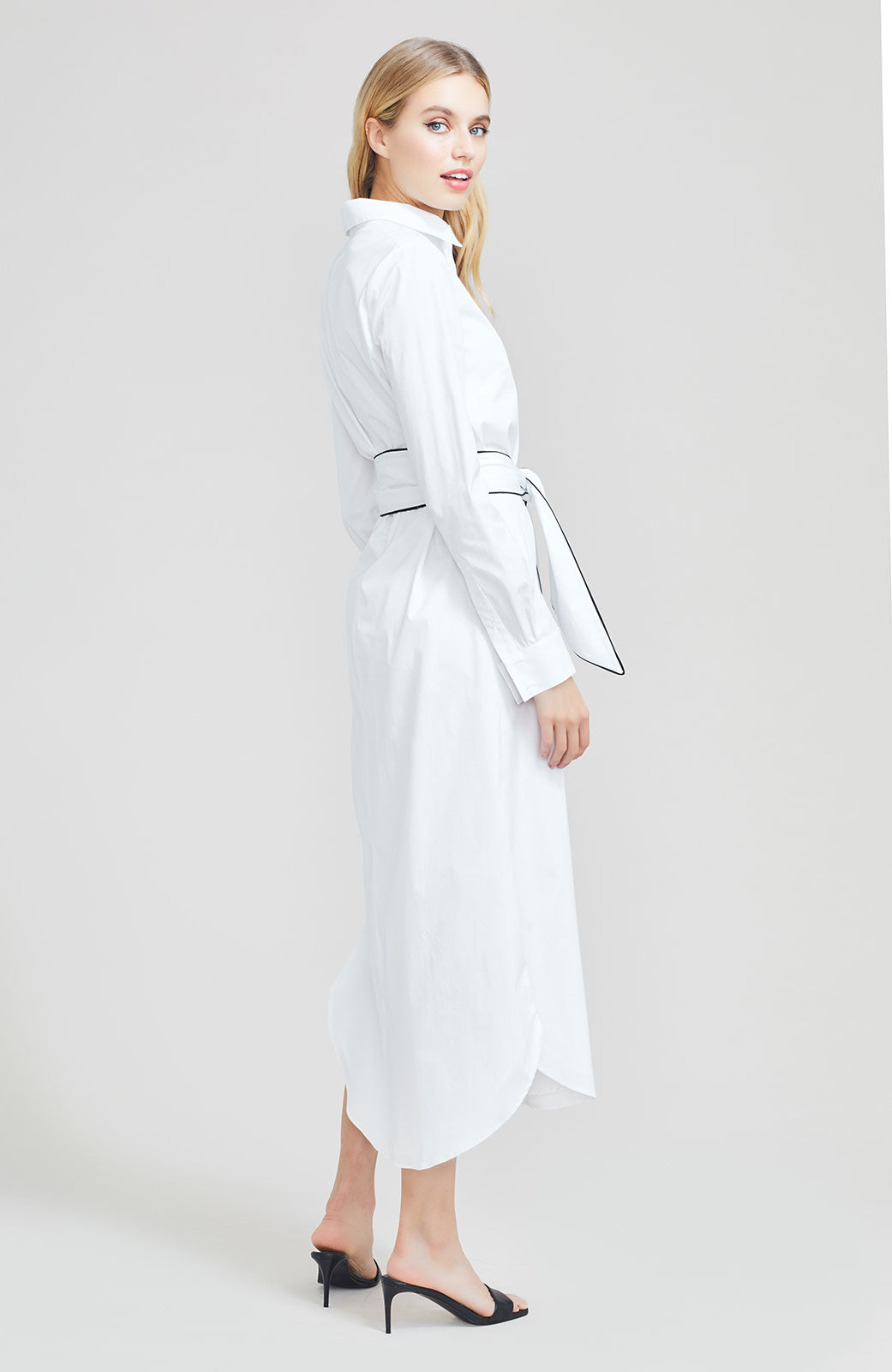 Cotton Poplin Belted Shirt Dress