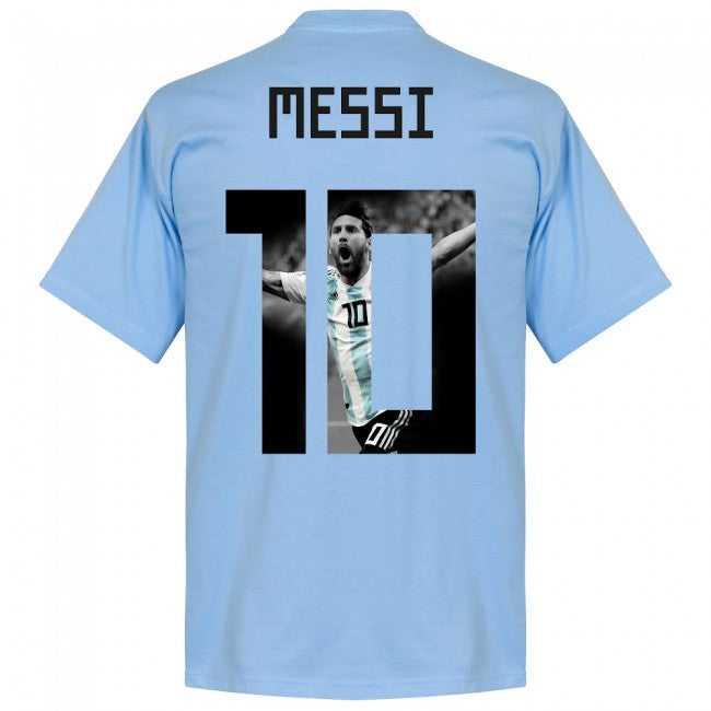 Argentina Messi 10 Gallery Team T-Shirt - Sky