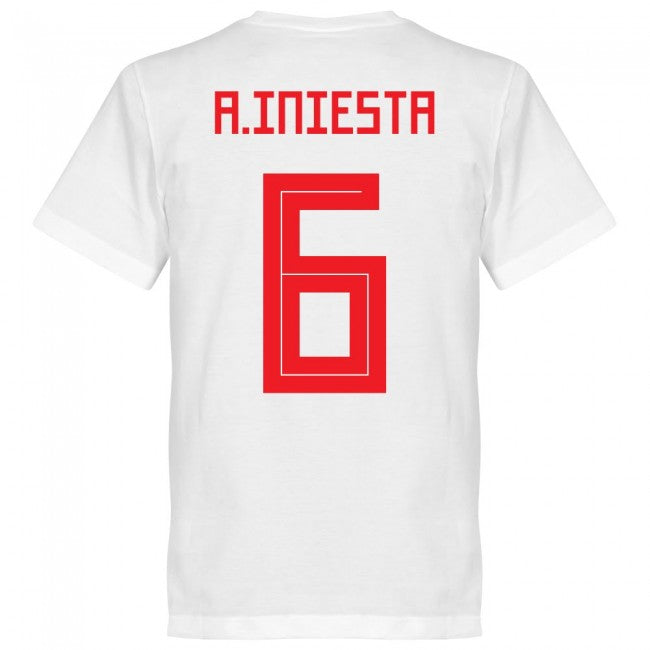 Spain Iniesta 6 Team T-Shirt - White