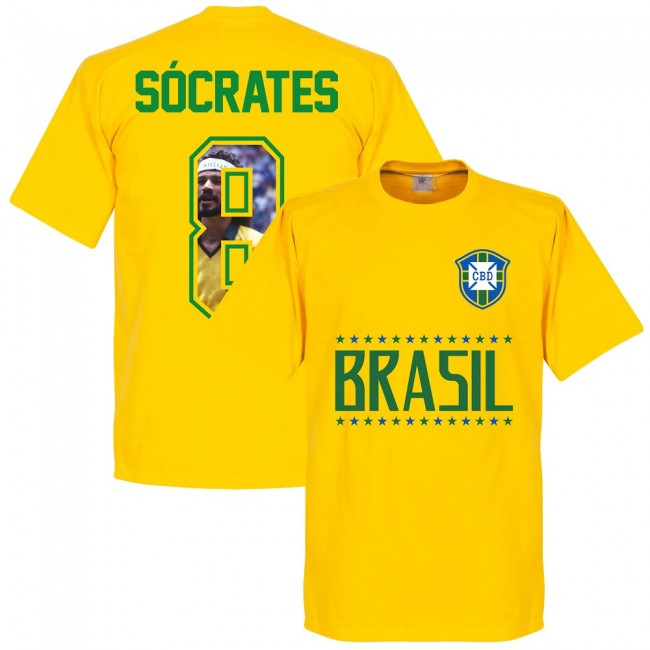 Brazil Socrates 8 Gallery Team T-Shirt - Yellow