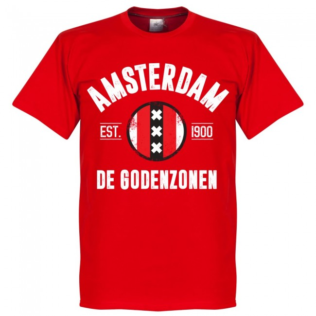 Amsterdam Established T-Shirt - Red - Terrace Gear