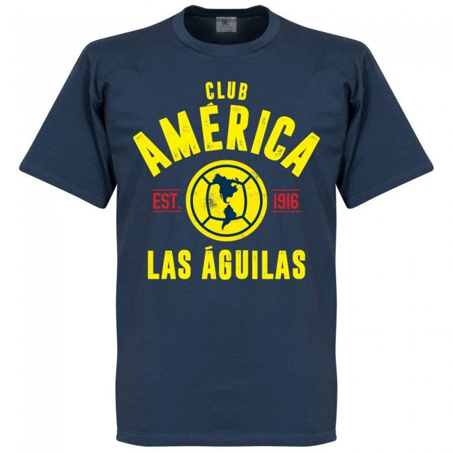 Club America Established T-Shirt - Denim Blue - Terrace Gear