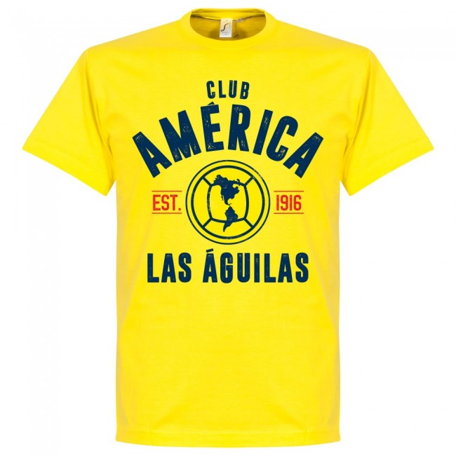 Club America Established T-Shirt - Yellow - Terrace Gear