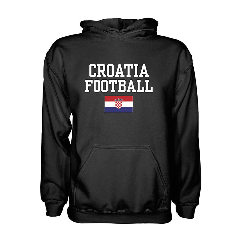 Croatia Football Hoodie - Black