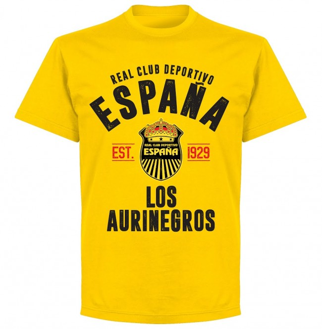 Real Club Deportivo Espana Established T-shirt - Yellow - Terrace Gear