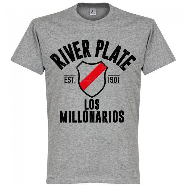 River Plate Established T-Shirt - Grey - Terrace Gear