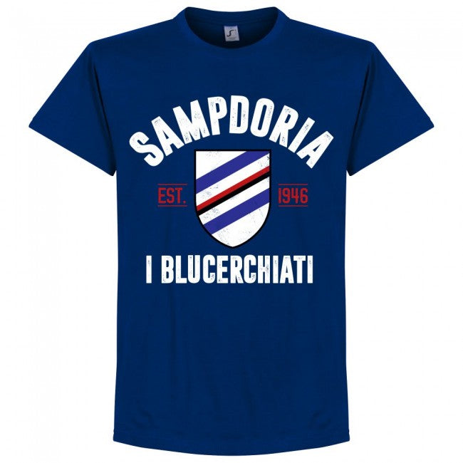 Sampdoria Established T-Shirt - Ultramarine - Terrace Gear