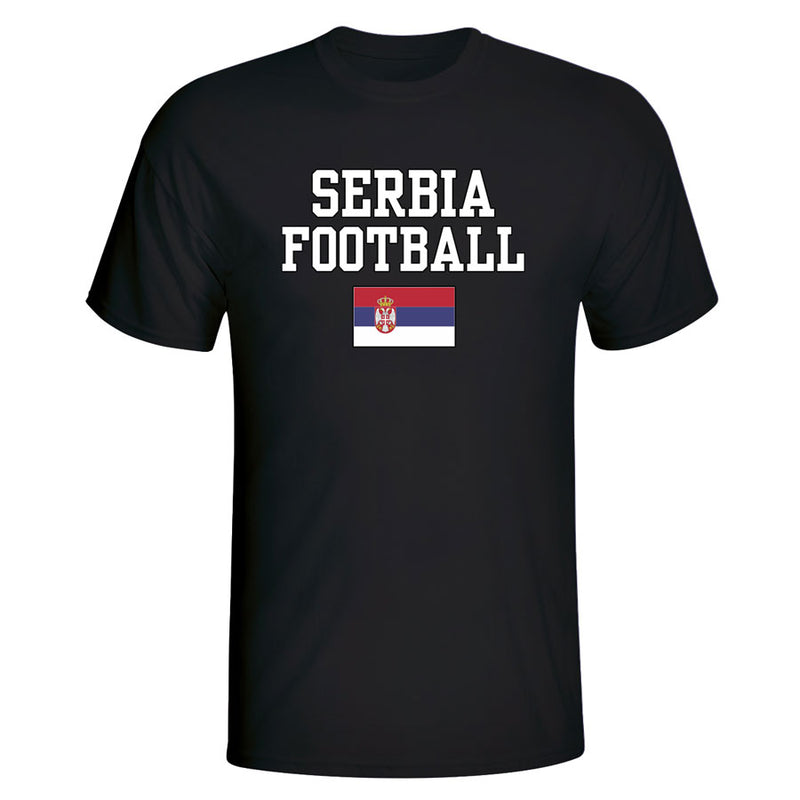 Serbia Football T-Shirt - Black