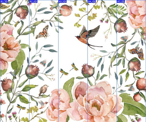 "Custom - Peonies Birds Butterflies Moth Dragonfly Greenery Mural - 96"" H x 114"" W (Five Vertical Panels)"