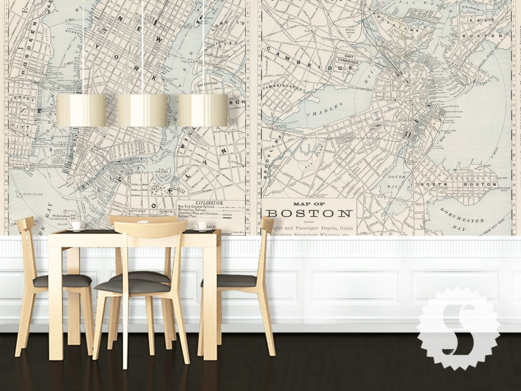 Wall Mural Poster Old Vintage Antique Maps Boston  New York - Nyc map wallpaper