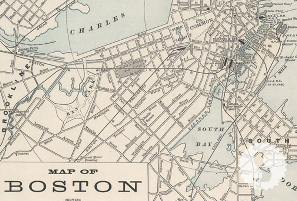 Wall Mural Poster Old Vintage Antique Maps Boston New York - Antique boston map