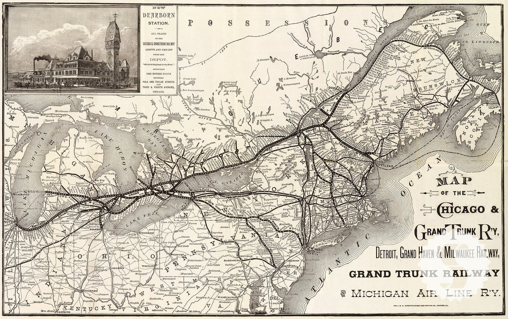 Wall Mural Poster Old Vintage Antique Maps Chicago Railroad - Vintage milwaukee map