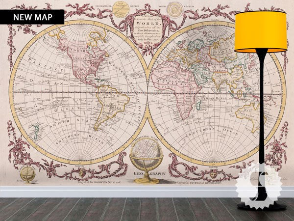 Wall Mural Poster Old Vintage Antique Maps World Hemisphere