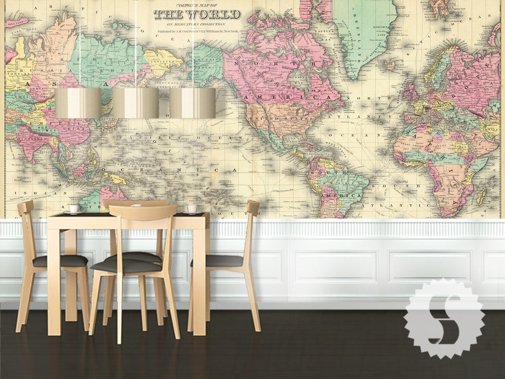 Wall Mural Poster Old Vintage Antique Colorful World Map - Pink world map poster